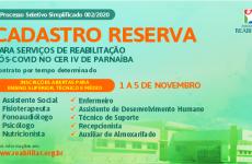 Associação Reabilitar abre processo seletivo para o CER IV de Parnaíba