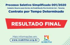 Confira o resultado final de processo seletivo para cadastro reserva da Associação Reabilitar