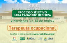 Associação Reabilitar abre processo seletivo para contratação de terapeuta ocupacional